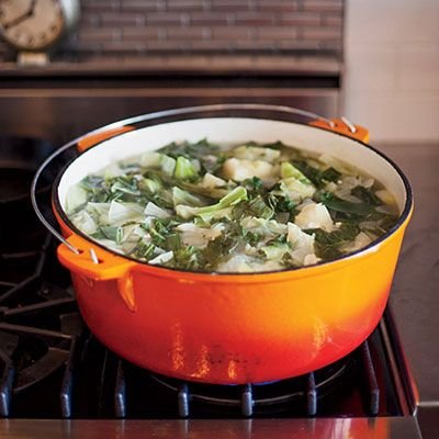 """<p>New Orleans cooks traditionally make this smothered greens dish without meat for Good Friday. David Kinch, however, prepares his version with a generous amount of pork, as well as eight different kinds of greens, including carrot tops.</p><p><b>Recipe: </b><a href=""""/recipefinder/gumbo-zherbes-recipe-fw0413"""" target=""""_blank""""><b>Gumbo z'Herbes Recipe</b></a></p>"""