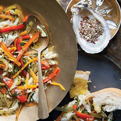 """<p>David Kinch's version of escabèche (marinated cooked seafood) combines sweet crab and crisp vegetables in a spiced-vinegar mix.</p><p><b>Recipe: </b><a href=""""http://www.delish.com/recipefinder/fresh-crab-escabeche-recipe-fw0413""""><b>Fresh Crab Eescabèche </b></a></p>"""