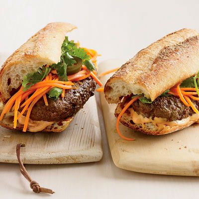 "<p>Topped with Tabasco-spiked mayonnaise, crunchy pickled carrots and jalapeños, and sprigs of cilantro, these burgers showcase the best of American and Vietnamese flavors.</p><p><b>Recipe: <a href=""/recipefinder/vietnamese-style-banh-mi-burgers-recipe"" target=""_blank"">Vietnamese-Style Bánh Mì Burgers</a></b></p>"