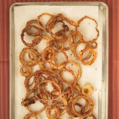 "<p>When deep-frying, do not fry more than one layer of rings at a time (although a little overlap is fine). Oil temperature will drop after each batch; make sure it returns to between 325 and 350 degrees F before adding more rings.</p> <p><strong>Recipe:</strong> <a href=""../../../recipefinder/buttermilk-onion-rings-recipe-mslo0313"" target=""_blank""><strong>Buttermilk Onion Rings</strong></a></p>"