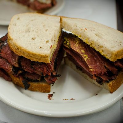 vy haven't had a true pastrami sandwich unless you've taken a bite of one at an old-fashioned New York delicatessen like Katz's on the Lower East Side. There, the beef brisket is brined, spiced, gently smoked, and then hand-sliced for unctuous pastrami perfection.