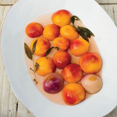 "<p>""In hot weather, I like the idea of a simple fruit dessert,"" says Tom Colicchio. He serves his poached peaches in lemon verbena-infused syrup with squares of baked ricotta.</p>