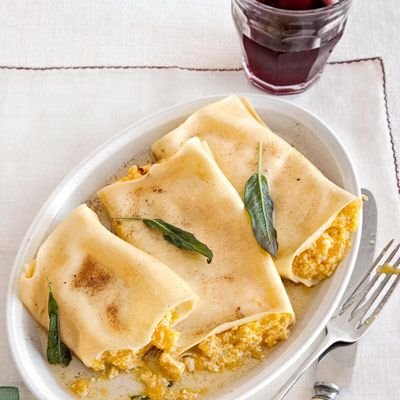 "<p>If you love cannelloni stuffed with ricotta cheese, try this twist with pumpkin filling. Pumpkin is meaty enough to make this a hearty dinner option.</p> <p><strong>Recipe: <a href=""http://www.delish.com/recipefinder/pumpkin-cannelloni-sage-brown-butter-sauce-recipe"" target=""_blank"">Pumpkin Cannelloni with Sage Brown-Butter Sauce</a></strong></p>"