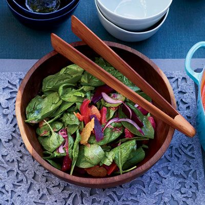 "<p>Curly leaf spinach has great texture and flavor and holds this mustard dressing well. For additional color, feel free to use a variety of different colored beets. You can also swap blood oranges for the tangerines.</p><p><b>Recipe: </b><a href=""http://www.delish.com/recipefinder/spinach-salad-citrus-roasted-beets-recipe-fw0311"" target=""_blank""><b>Beet Salad with Watercress and Fresh Pecorino</b></a></p>"