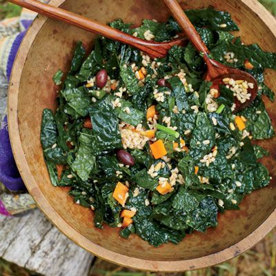 "<p>Know as the super greens, kale, spinach, chard and watercress are loaded with vitamins A, C, E and K and are all low in calories and high in fiber.  Leafy greens are also packed with magnesium, potassium, folate and calcium which all help the brain function, maintain healthy bones and help manage blood pressure.  </p><p>Get your green on with these amazing, energy-packed recipes:</p><p></p><a href=""http://www.delish.com/recipefinder/farro-kale-salad-olives-pine-nuts-recipe-fw0813"">Farro-and-Kale Salad with Olives and Pine Nuts</a><br></br><a href=""http://www.delish.com/recipefinder/baked-kale-chips-recipe-rbk0912"">Baked Kale Chips</a><br></br><a href=""http://www.delish.com/recipefinder/arugula-watercress-salad-1000"">Arugula and Watercress Salad</a><br></br><a href=""http://www.delish.com/recipefinder/watercress-avocado-walnut-salad-recipe-cfae1cc5-5dea-4922-b8585cdbe096e886"">Watercress, Avocado, and Walnut Salad</a>"