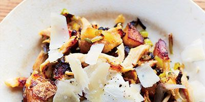 """<p>Using leftover chicken in a hash with green pepper, onion, and jalapeños makes a nice, hearty breakfast. A dash of hot sauce is delicious here.</p> <p><strong>Recipe:</strong> <a href=""""http://www.delish.com/recipefinder/chicken-hash-eggs-recipe-fw1013""""><strong>Chicken Hash with Eggs</strong></a></p>"""