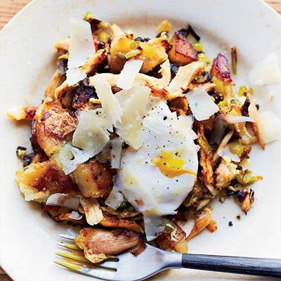 "<p>Using leftover chicken in a hash with green pepper, onion, and jalapeños makes a nice, hearty breakfast. A dash of hot sauce is delicious here.</p> <p><strong>Recipe:</strong> <a href=""http://www.delish.com/recipefinder/chicken-hash-eggs-recipe-fw1013""><strong>Chicken Hash with Eggs</strong></a></p>"