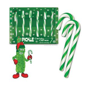 "These green candy canes may look like they are spearmint-flavored, but they actually taste like dill pickles. <br /><br /> <a href=""http://www.gadgetsandgear.com/pickle-candy-canes.html"" target=""_blank"">www.gadgetsandgear.com</a>"