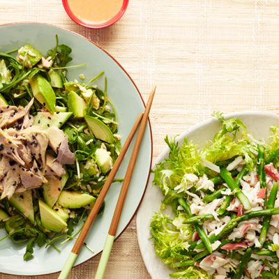 "<p>This spicy, Asian-inspired salad with tuna, arugula, cucumber, and brown rice works as a main course because it's essentially your favorite sushi bar order, deconstructed, with more veggies added. Pump up the avocado for a healthy fat that will keep you satiated.</p> <p><strong>Recipe: <a href=""http://www.delish.com/recipefinder/spicy-tuna-roll-salad-recipe-ghk0613"" target=""_blank"">Spicy Tuna Roll Salad</a></strong></p>"