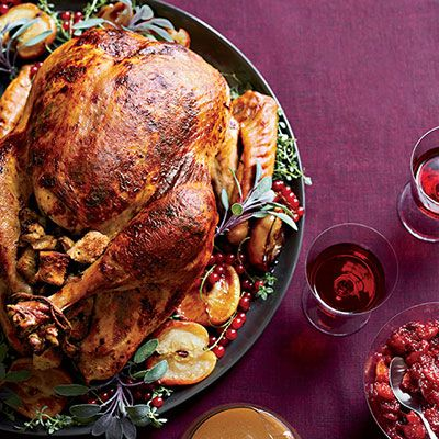 "<p>This classic turkey is rubbed with an aromatic shallot-sage butter, then stuffed with a nutty chestnut-apple stuffing.</p> <p><strong>Recipe:</strong> <a href=""http://www.delish.com/recipefinder/roast-turkey-chestnut-apple-stuffing-recipe-fw1113""><strong>Roast Turkey with Chestnut-Apple Stuffing</strong></a></p>"