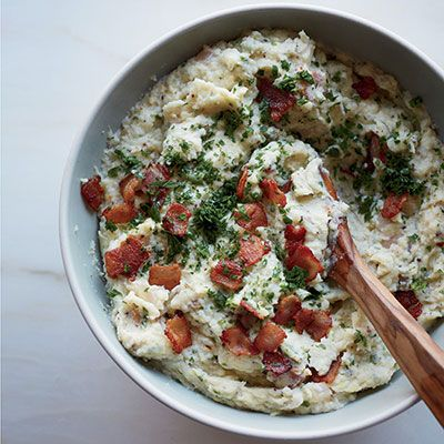 "<p>This chunky mashed-potato dish is packed with tangy mustard, fresh herbs, and thick-cut bacon.</p> <p><strong>Recipe: <a href=""http://www.delish.com/recipefinder/mashed-potatoes-bacon-mustard-recipe-fw1113"" target=""_blank"">Mashed Potatoes with Bacon and Mustard</a></strong></p>"