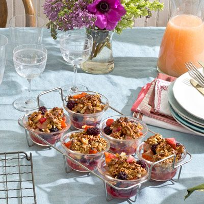 "<p>Sparkling wine-soaked fruit adds an elegant note to a luxuriously easy brunch. Get some extra sleep by preparing the night before and popping this dish into the oven the next day.</p> <p><strong>Recipe:</strong> <a href=""http://www.delish.com/recipefinder/sparkling-fruit-granola-streusel-recipe-opr0512"" target=""_blank""><strong>Sparkling Fruit with Granola Streusel</strong></a></p>"