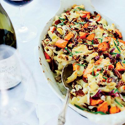 "<p>This indulgent recipe combines thick, tubular torchio pasta with a cheesy sauce, sweet potato chunks, radicchio slices, pecans, and even more cheese.</p> <p><strong>Recipe: <a href=""http://www.delish.com/recipefinder/cheesy-baked-pasta-sweet-potatoes-radicchio-recipe-fw1013"" target=""_blank"">Cheesy Baked Pasta with Sweet Potatoes and Radicchio</a></strong></p>"