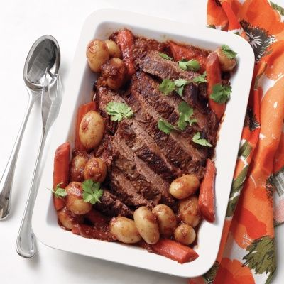 <p>Long, slow, moist cooking (we use beer for the liquid) makes brisket extraordinarily tender. A simple, four-ingredient spice rub adds a little sass.</p>
