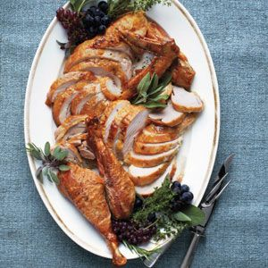 <p>A whole turkey glistening on a platter certainly does make a stunning centerpiece, but in reality, it's the carved bird that graces our tables. Fan out the meat slices; add the wings and drumsticks. Then garnish with fruits and herbs for a platter that's both pretty and practical.</p>