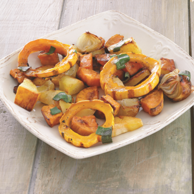 "<p>For the most appealing result, select root veggies of contrasting colors. You can leave the peels on all the veggies—even the acorn squash. Just scrub them well, and make sure you cut the squash into semicircles for easy prep and beauty on the plate.</p> <p><strong>Recipe: <a href=""http://www.delish.com/recipefinder/festive-roasted-fall-vegetables-recipe-del0813"" target=""_blank"">Festive Roasted Fall Vegetables</a></strong></p>"