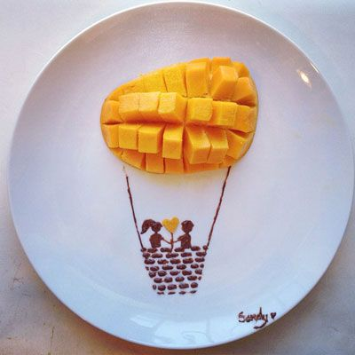 <p>Mango and Nutella star in this sweet hot air balloon creation.</p>
