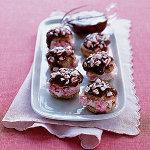 "<p>Simply sandwich peppermint ice cream between chocolate-topped store-bought cream puff cookies to create this refreshing bite-size treat. Add crushed starlight mint candies as a garnish to heighten the peppermint flavor!</p> <p><strong>Recipe: <a href=""http://www.delish.com/recipefinder/peppermint-ice-cream-profiteroles-121773"" target=""_blank"">Peppermint Ice Cream Profiteroles</a></strong></p>"