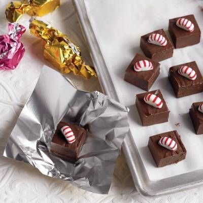 "<p>Use parchment or colored plastic wrap to package your fudge. Twist the ends for a candy-like look, then stuff some stockings!</p> <p><strong>Recipe: <a href=""http://www.delish.com/recipefinder/peppermint-fudge-recipe-mslo1213"" target=""_blank"">Peppermint Fudge</a></strong></p>"