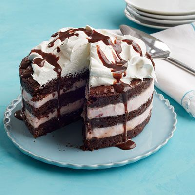 """<p>Using brownie mix instead of baking a cake from scratch saves time and makes this dessert extra rich and chocolaty tasting.</p><p><strong>Recipe:</strong> <a href=""""http://www.delish.com/recipefinder/neapolitan-brownie-ice-cream-cake-recipe-wdy0314""""><strong>Neapolitan Brownie Ice Cream Cake</strong></a></p>"""