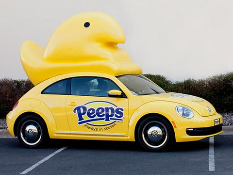 "<p>You'd think that a Peepsmobile would be a breeze to drive compared to Oscar Mayer's Wienermobile, but that's not so: The 4-foot-tall, hard-plastic Peep atop the yellow Volkswagen Beetle makes parking garages and windy days a challenge, according to a company spokesperson, not to mention dodging all the people trying to grab photos. Keep your eyes open—there are three Peepsmobiles that tour the country. Two are stationed at the <a href=""https://www.peepsandcompany.com/locations"" target=""_blank"">Peeps & Company stores</a> in Minneapolis and National Harbor, MD, and one is parked in its, ahem, ""VIPeep"" parking spot at the Bethlehem, PA, corporate headquarters.</p>"