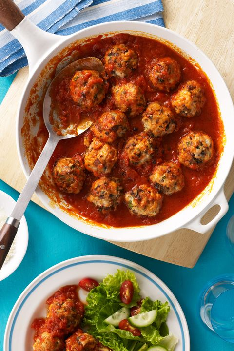 Using lean ground turkey instead of beef, veal, or pork cuts loads of fat and calories, but adding mushrooms, mustard, and other bold seasonings to the mixture makes these meatballs incredibly flavorful.