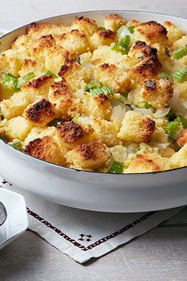 Classic flavors shouldn't be ignored just because they're not as flashy as new trands. Two textures — crunchy and soft — up the ante on this simple stuffing.    Recipe: Cornbread Dressing