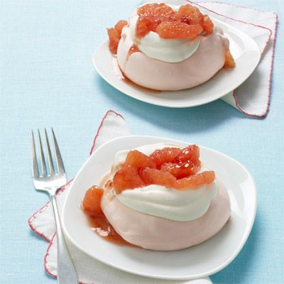 """<p>A hint of strawberry jam adds sweetness to tart grapefruit for a luscious accent to these light and airy desserts.</p> <p><strong>Recipe: <a href=""""http://www.delish.com/recipefinder/pink-grapefruit-pavlovas-recipe-wdy0113"""" target=""""_blank"""">Pink Grapefruit Pavlovas</a></strong></p>"""