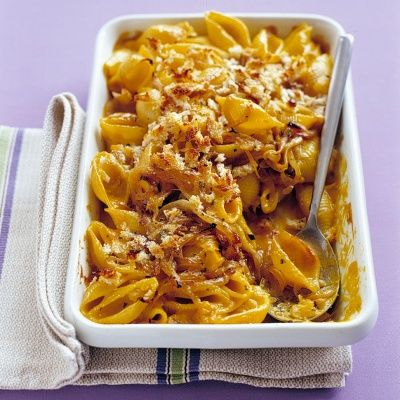 "<p>This is a grown-up alternative to macaroni and cheese, but even kids might approve.</p> <p><strong>Recipe: <a href=""http://www.delish.com/recipefinder/baked-shells-winter-squash-recipe-mslo0114"" target=""_blank"">Baked Shells with Winter Squash</a></strong></p>"
