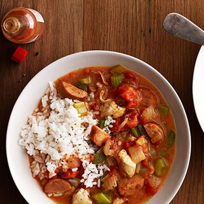 "<p>Sunny Anderson's gumbo takes way less time to make than most, but it's just as flavorful and bold; if you can find gumbo filé powder in your local supermarket's spice section, shake a bit over your bowl (as you would salt) for a distinctly earthy flavor.</p><p><strong>Recipe:</strong> <a href=""http://www.delish.com/recipefinder/chicken-andouille-gumbo-recipe-opr0114""><strong>Chicken and Andouille Gumbo</strong></a></p>"