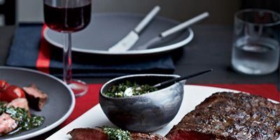 """<p>Besides Gorgonzola, this tasty butter is enhanced with shallot, tarragon, and Worcestershire sauce; it adds great flavor to any steak, including this seared flat-iron that's cut from the chuck.</p><p><strong>Recipe:</strong> <a href=""""http://www.delish.com/recipefinder/flat-iron-steaks-blue-cheese-butter-recipe-fw0214""""><strong>Flat Iron Steaks with Blue Cheese Butter</strong></a></p>"""
