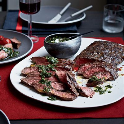 "<p>Besides Gorgonzola, this tasty butter is enhanced with shallot, tarragon, and Worcestershire sauce; it adds great flavor to any steak, including this seared flat-iron that's cut from the chuck.</p><p><strong>Recipe:</strong> <a href=""http://www.delish.com/recipefinder/flat-iron-steaks-blue-cheese-butter-recipe-fw0214""><strong>Flat Iron Steaks with Blue Cheese Butter</strong></a></p>"