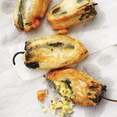 """<p>You can stuff anything into a poblano chile and fry it, and it will taste good. Serve this rendition with sour cream as a side dish or as a vegetarian main dish.</p><p><strong>Recipe:</strong> <a href=""""http://www.delish.com/recipefinder/poblano-chiles-stuffed-corn-monterey-jack-cheese-recipe-mslo0913"""" target=""""_blank""""><strong>Poblano Chiles Stuffed with Corn and Monterey Jack Cheese</strong></a></p>"""