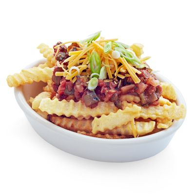 Top 16 ounces of prepared frozen french fries with 1/3 cup of your favorite salsa, 1/2 cup of shredded Cheddar or pepper Jack cheese, and 3 green onions, white and light green parts only, thinly sliced. Serves 8.