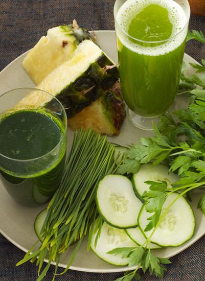 """<p>The bold green flavor of wheatgrass mingles seamlessly with the fresh sweetness of pineapple and pear — uplifted by a hint of mint — turning this detox drink into a delicious refresher.</p> <p><strong>Recipe: <a href=""""http://www.delish.com/recipefinder/verdant-vista-recipe-del0214"""" target=""""_blank"""">Verdant Vista</a></strong></p>"""