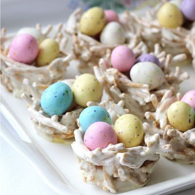 "<p>These edible springtime ""bird nests"" are actually made from marshmallows and chow mein noodles—fill 'em up with <a href=""https://www.hersheys.com/celebrate/easter/productdetail.aspx?id=315"" target=""_blank""><strong>Whoppers Robin Eggs</strong></a> candy for full effect!</p> <p><strong><a href=""http://www.pinterest.com/pin/66287425740040187/"" target=""_blank"">Pin it to your boards! »</a></strong></p> <p>Get the recipe at <strong><a href=""http://www.gratefulprayerthankfulheart.com/2011/04/easter-springtime-bird-nests.html"" target=""_blank"">With a Grateful Prayer and a Thankful Heart</a></strong>.</p>"