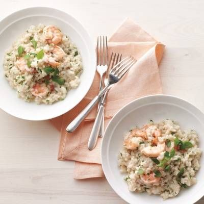 "<p>Creamy rice with shrimp and a hint of garlic and Parmesan cheese makes the perfect, easy, weeknight meal. To make it vegetarian, swap vegetable broth for the chicken broth and replace the shrimp with roasted vegetables like mushrooms or cherry tomatoes. </p> <p><strong>Recipe: <a href=""http://www.delish.com/recipefinder/shrimp-herb-risotto-recipe-mslo0214"" target=""_blank"">Shrimp-and-Herb Risotto</a></strong></p>"