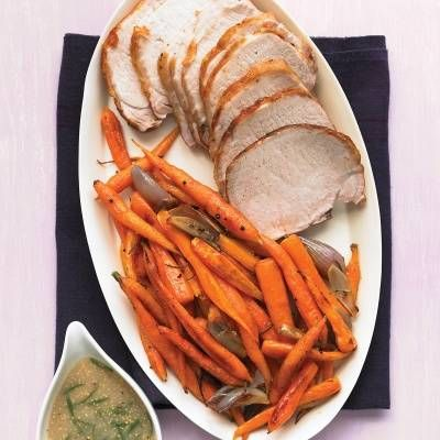 "<p>The oven's high heat concentrates the flavor of carrots, making them as sweet as honey. For an easy dinner, roast a juicy pork loin alongside, and finish with a quick pan sauce. </p> <p><strong>Recipe: <a href=""http://www.delish.com/recipefinder/roast-pork-loin-carrots-mustard-gravy-recipe-mslo0214"" target=""_blank"">Roast Pork Loin with Carrots and Mustard Gravy</a></strong></p>"
