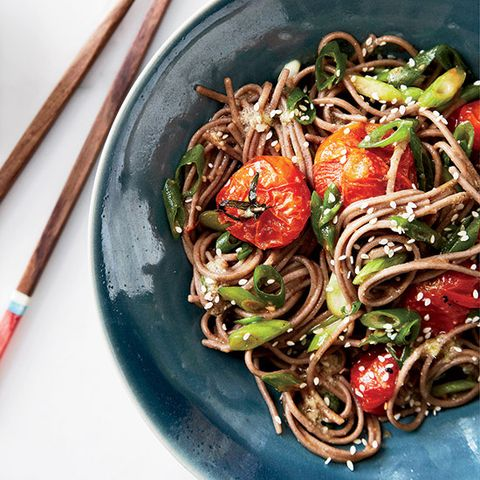 "<p>Roasting cherry tomatoes in a mix of miso, ginger, sesame, lime juice, and honey creates a tangy, bright sauce for soba noodles; try adding shrimp for an even more substantial dish.</p><p><b>Recipe: </b><a href=""http://www.delish.com/recipefinder/soba-noodles-miso-roasted-tomatoes-recipe-fw0414"" target=""_blank""><b>Soba Noodles with Miso-Roasted Tomatoes</b></a></p>"