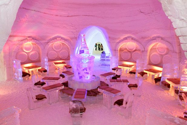 Montreal, Quebec's Pommery Ice Restaurant at Snow Village Canada is the first of its kind in North America, combining a gourmet eating experience with extravagant ice and snow sculptures and architecture. Chef Matthieu Saunier's dishes, like Jerusalem artichoke and cauliflower cream soup with stewed wild boar and fried artichoke ravioli; maplewood smokehouse sea trout tartare with blinis, yuzu, and tobiko mayo; and Cornish game hen stuffed with morels, make the edible experience just as enthralling as the visuals.