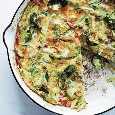 "<p>This quick, hearty frittata makes a substantial meal, as it is loaded with crispy bacon and brussels sprouts.</p><p><strong>Recipe:</strong> <a href=""http://www.delish.com/recipefinder/brussels-sprout-bacon-gruyere-frittata-recipe-fw0114""><strong>Brussels Sprout, Bacon, and Gruyère Frittata</strong></a></p>"
