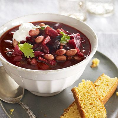 <p>Beets and fire-roasted tomatoes color this vegetarian chili, perfect for Valentine's Day.</p>