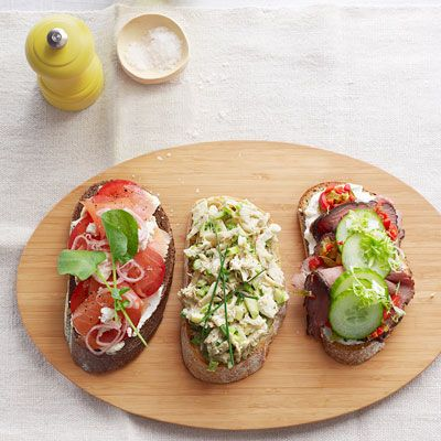 "<p>A more gourmet take on cream cheese and lox, these tartines include crumbled goat cheese and slices of fresh tomatoes.</p> <p><b>Recipe: <a href=""http://www.delish.com/recipefinder/smoked-salmon-tomato-tartines-recipe-ghk0812?click=recipe_sr""> Smoked Salmon and Tomato Tartines</a></b></p>"