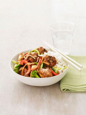 "<p>A sweet and spicy orange sauce seasoned with hot pepper flakes and honey gives this chicken and vegetable stir-fry a serious kick of flavor.</p> <p><strong>Recipe: <a href=""http://www.delish.com/recipefinder/orange-stir-fry-chicken-recipe-rbk0411"" target=""_blank"">Orange Stir-Fry Chicken</a></strong></p>"