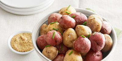 """<p>Coriander seeds, fennel seeds, and salt help flavor the crispy skin on these oven-baked potatoes.</p><p><b>Recipe: </b><a href=""""http://www.delish.com/recipefinder/salt-baked-new-potatoes-recipes-clv0513?click=recipe_sr""""><b>Salt-Baked New Potatoes</b></a></p>"""