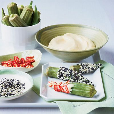 "<p>This okra gets not one but two coatings: Dip first in miso mayonnaise, then add crunch with sesame seeds or heat with fresh chiles.</p> <p><strong>Recipe:</strong> <a href=""http://www.delish.com/recipefinder/okra-double-dippers-recipe-fw0813"" target=""_blank""><strong>Okra Double Dippers</strong></a></p>"