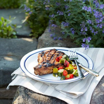 "<p>Pork chops get dressed up with an okra and pepper relish in this summertime dinner recipe.</p> <p><strong>Recipe:</strong> <a href=""http://www.delish.com/recipefinder/pork-chops-grilled-okra-relish-recipe-rbk0812"" target=""_blank""><strong>Pork Chops with Grilled Okra Relish</strong></a></p>"