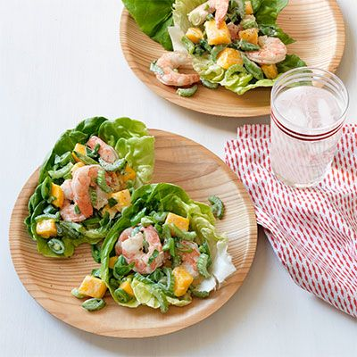 "<p><strong>Recipe:</strong> <a href=""http://www.delish.com/recipefinder/crunchy-shrimp-mango-lettuce-cups-recipe-wdy0813""><strong>Shrimp and Mango Lettuce Wraps</strong></a></p>"
