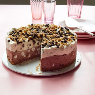 """<p>While a campfire might be too hot for the summer months, all the familiar flavors of s'mores are captured in this no-fuss ice cream cake.</p> <p><strong>Recipe: <a href=""""http://www.delish.com/recipefinder/smores-ice-cream-cake-recipe-wdy0812"""" target=""""_blank"""">S'mores Ice Cream Cake</a></strong></p>"""