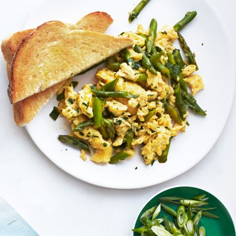 "<p>This scrambled egg dish takes a total of 15 minutes and is loaded with delicious green veggies, savory Parmesan, and fresh, fragrant mint — a truly elegant way to start the morning.</p> <p><strong>Recipe: <a href=""http://www.delish.com/recipefinder/asparagus-mint-parmesan-scramble-recipe-wdy0514"" target=""_blank"">Asparagus, Mint, and Parmesan Scramble</a></strong></p>"